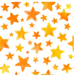 Orange watercolor painted stars on white vector