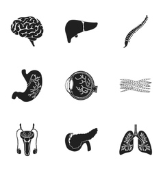 Organs set icons in black style Big collection of vector
