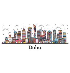 Outline doha qatar city skyline with color vector