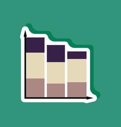 Paper sticker on stylish background economic chart vector