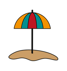 parasol on sand icon image vector image