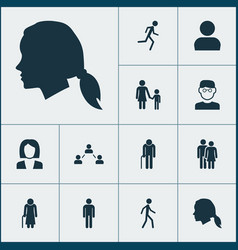 People icons set collection of running vector