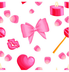 pink seamless pattern with valentine items vector image