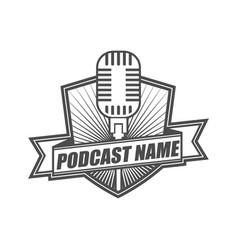 podcast logo icon design template vector image