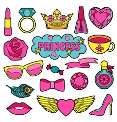Princess Fashion Patches Set vector image