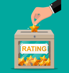 rating box and hand with golden star vector image