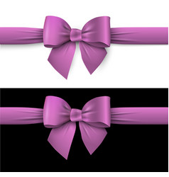 realistic purple bow with ribbon on white and on vector image