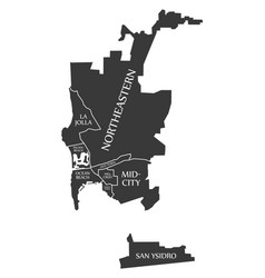 San diego city map usa labelled black vector