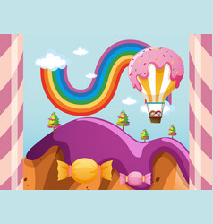 scene with candy balloon over purple mountains vector image