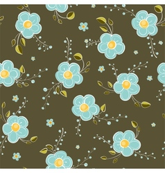 Seamless Blue Flowers Pattern vector image