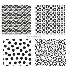 seamless doodle textures set 4 vector image
