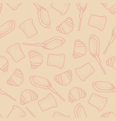 seamless pattern with bread butter and vector image