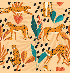 seamless pattern with hand drawn exotic big cat vector image