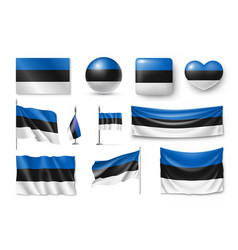 set estonia flags banners banners symbols flat vector image