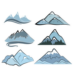 set mountains collection stylized mountain vector image