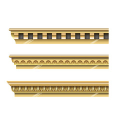 Set of classical gold cornices vector