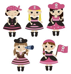Set of cute cartoon girl pirates vector