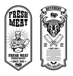 set vintage butchery and meat store flyers vector image
