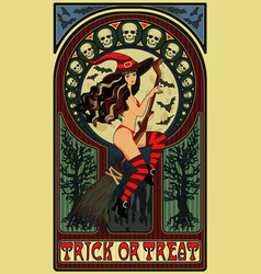 sexy witch and moon art nouveau halloween card vector image