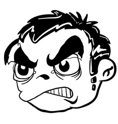 Simple balck and white angry boy head vector