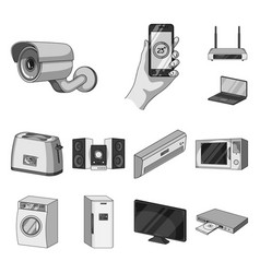 smart home appliances monochrome icons in set vector image