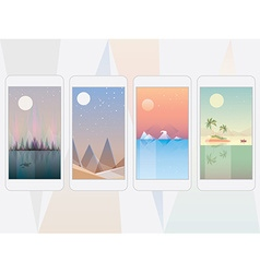 Smooth polygonal landscape design vector