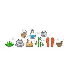 spa with icons vector image
