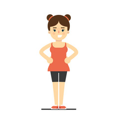Sporty smiling girl in sportswear doing gymnastics vector