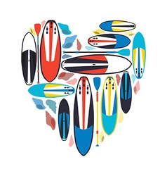 stand up paddle boards and paddles set w vector image