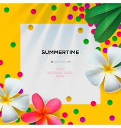 Summertime template with floral background vector