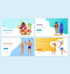 Surfing summer fun activities on vacation web vector