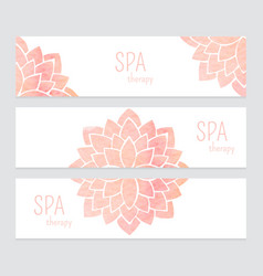 Templates of banners watercolor flowers vector