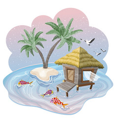 tropical island in the ocean with palm trees and vector image