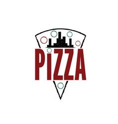 urban pizza slice design template vector image