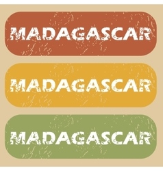 Vintage Madagascar stamp set vector image