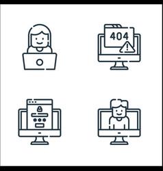 Web development line icons linear set quality vector