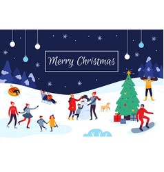winter people merry christmas card snow vector image