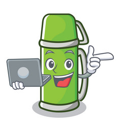 With laptop thermos character cartoon style vector