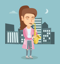 Young caucasian musician playing the saxophone vector
