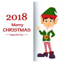 elf showing on placard with greetings vector image vector image