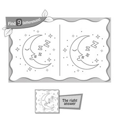 find 9 differences game moon vector image vector image