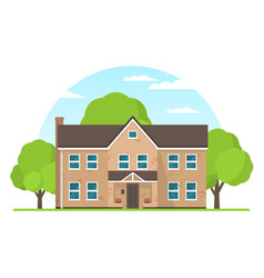 frontview of english style suburban private house vector image
