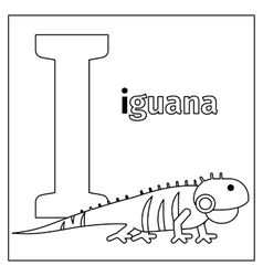 Iguana letter I coloring page vector image vector image