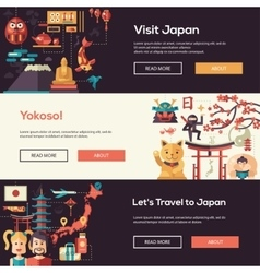 Japan travel banners set with landmarks famous vector image