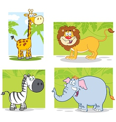 Jungle Animals With Background Collection Set vector image vector image