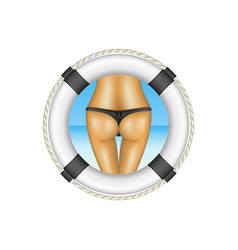 Life buoy with sexy bum of woman in black bikini vector