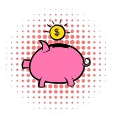 Piggy bank icon comics style vector image vector image
