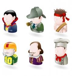 avatar people web icon set vector image