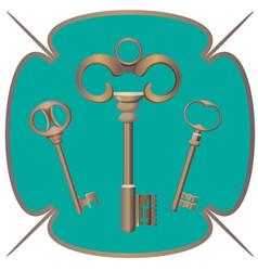 bunch of keys metal chrome decorative unlock steel vector image