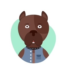 Cartoon cute pitbull dog Isolated objects on vector image